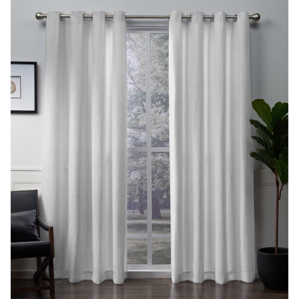 Winfield 54 in. W x 96 in. L Metallic Sheen Grommet Top Curtain Panel in Winter White (2 Panels)