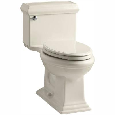 Memoris Classic 1-Piece 1.28 GPF Single Flush Elongated Toilet with AquaPiston Flush Technology in Almond, Seat Included