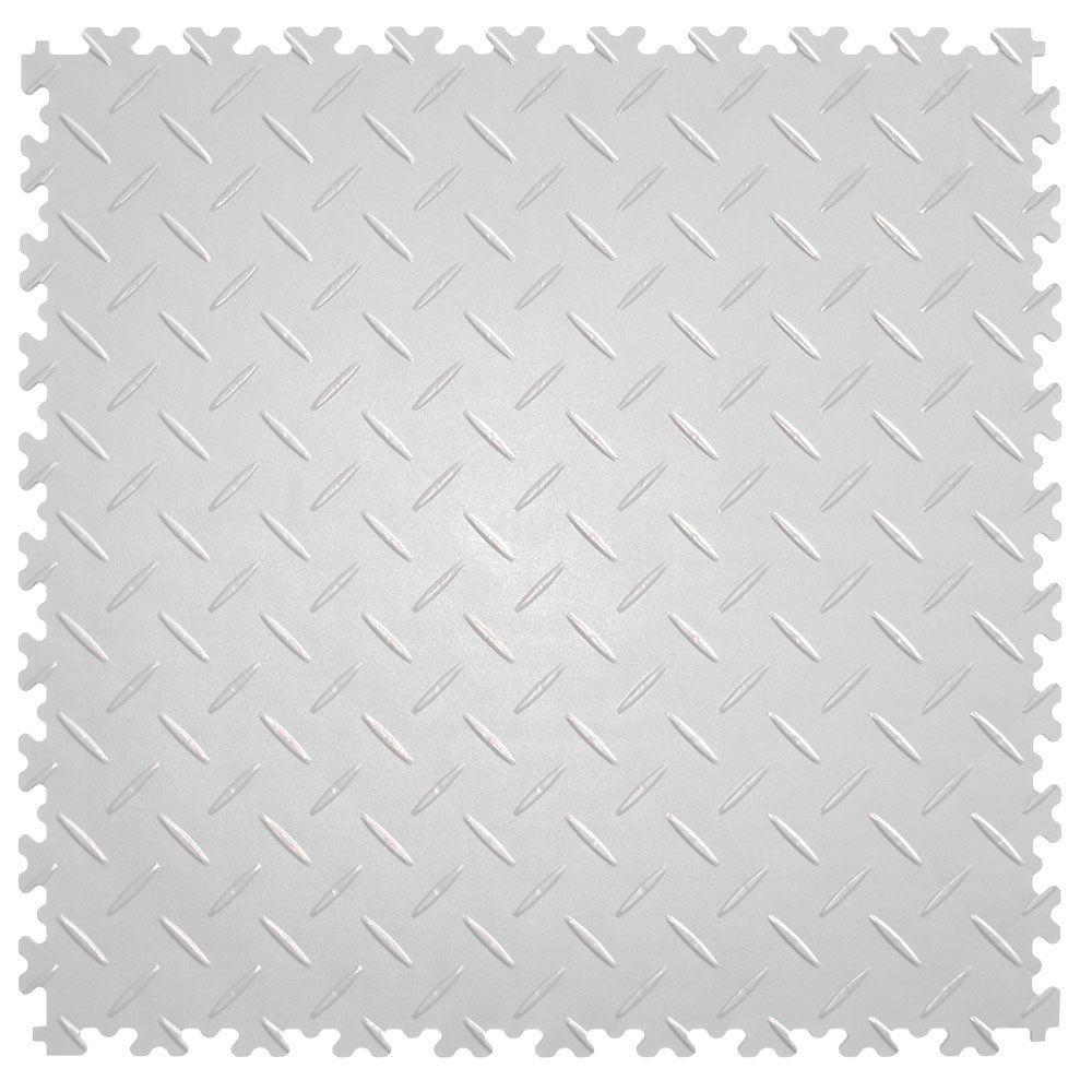 IT-tile 20-1/2 in. x 20-1/2 in. Diamond Plate White PVC Interlocking Multi-Purpose Flooring Tiles (23.25 sq. ft./case)