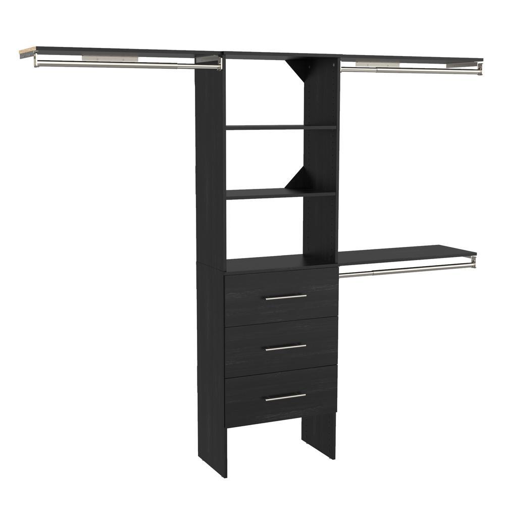 Style+ 73.1 in W - 121.1 in W Noir Modern Style Basic Plus Wood Closet System Kit