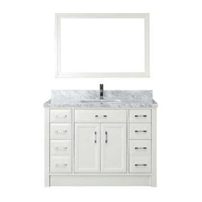 Calais 48 in. W x 22 in. D Vanity in White with Marble Vanity Top in Gray with White Basin and Mirror
