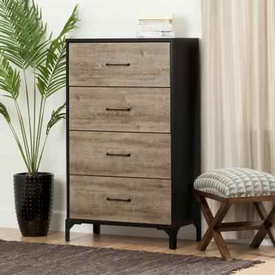 Valet 4-Drawer Weathered Oak and Ebony Chest of Drawers