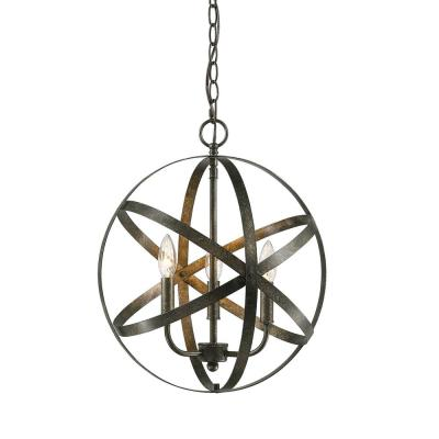 16 in. 3-Light Antique Silver Outdoor Pendant