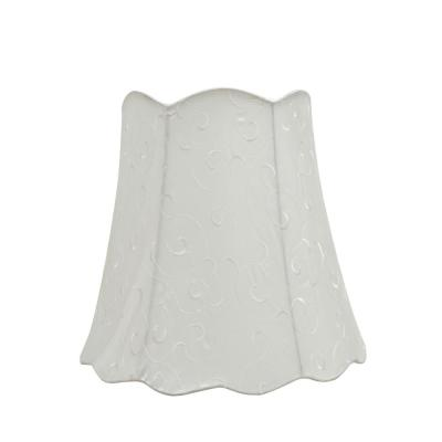 16 in. x 15 in. Beige and Embroidered Design Scallop Bell Lamp Shade