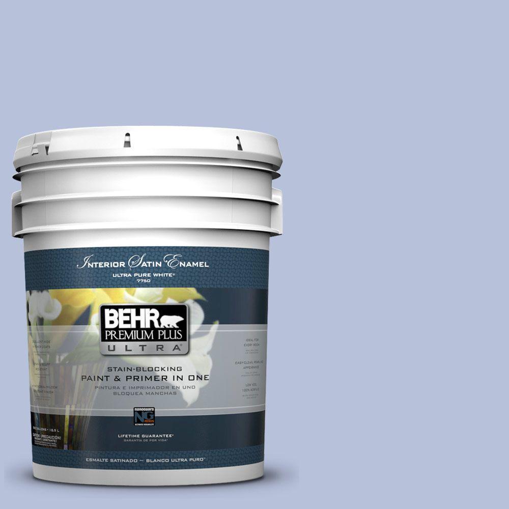 5 gal. #610C-3 Virginia Blue Satin Enamel Interior Paint