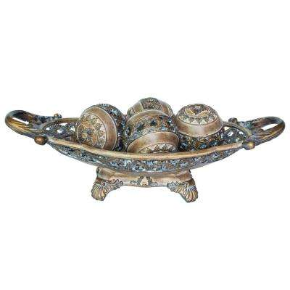Ivory Brown Roman Polyresin Decorative Bowl