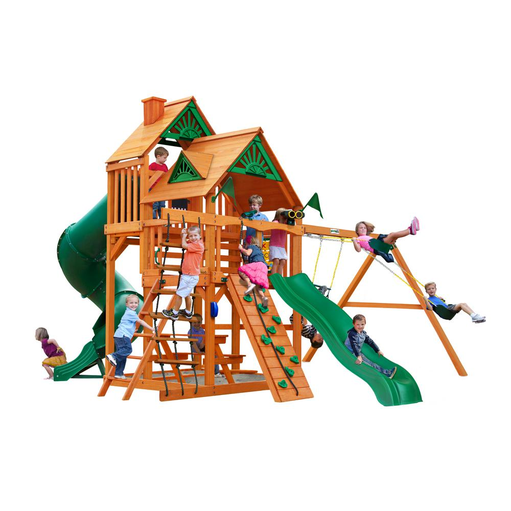 Gorilla Playsets Great Skye I Wooden Swing Set with 2 Slides and Picnic Table