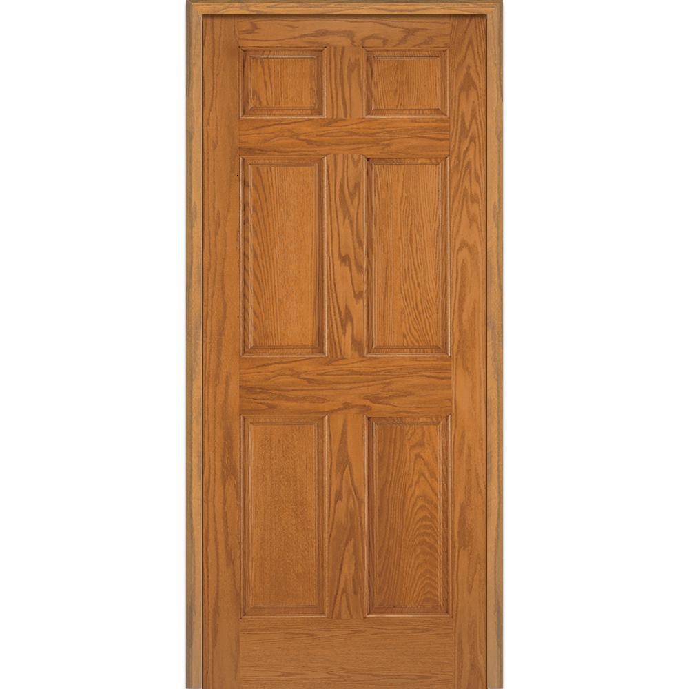 Mmi Door 34 In X 80 In 6 Panel Unfinished Red Oak Wood Left Hand Solid Core Single Prehung