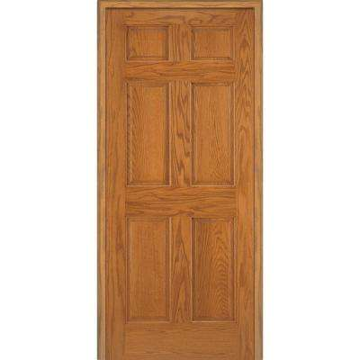 34 in. x 80 in. 6-Panel Unfinished Red Oak Wood Right Hand Solid Core Single Prehung Interior Door