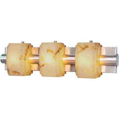 3-Light Indoor Brushed Nickel Bath or Vanity Light Wall Mount or Wall Sconce with Faux Alabaster