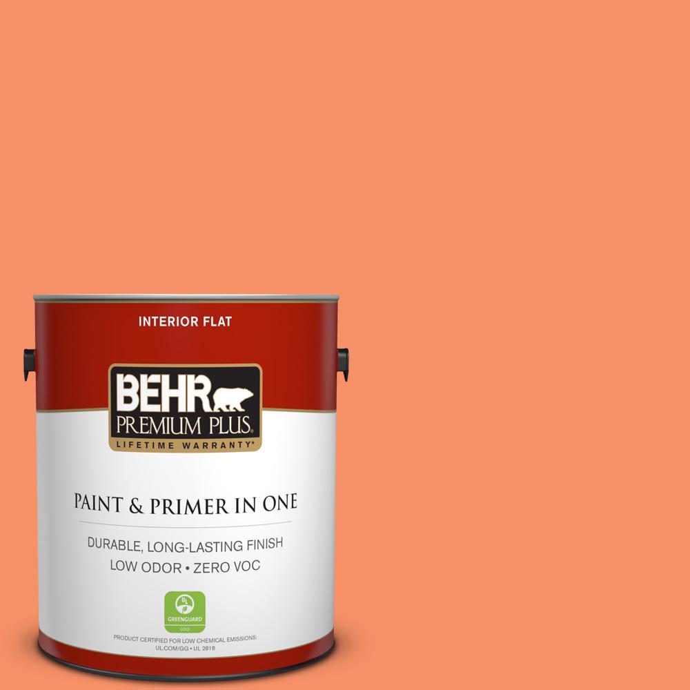 BEHR Premium Plus 1-gal. #210B-5 Tangerine Dream Zero VOC Flat Interior Paint
