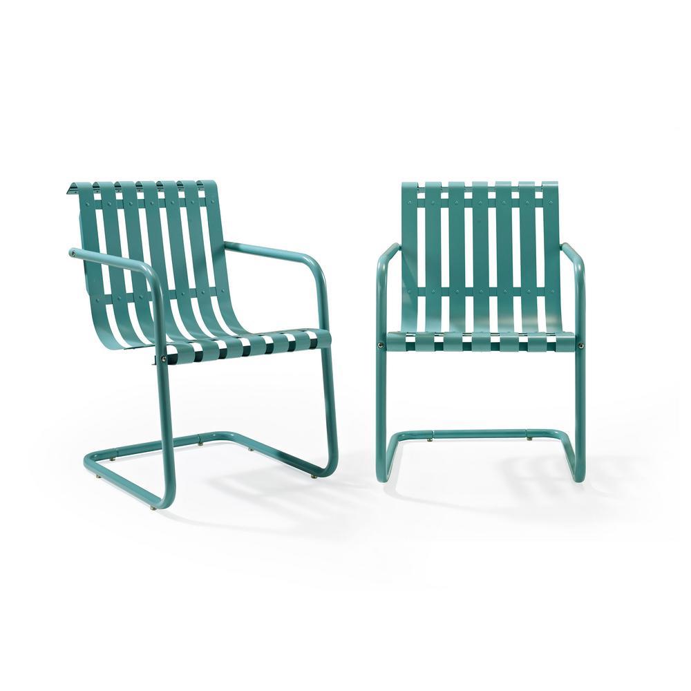 Crosley Gracie Blue Metal Outdoor Chair (Set of 2)