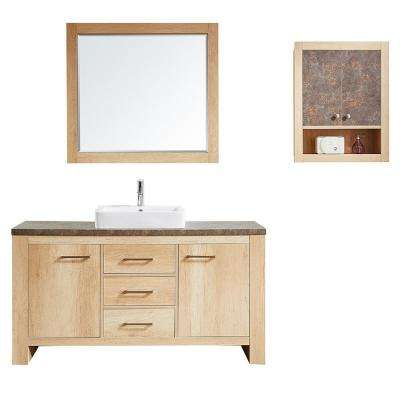 Alpine 60 in. W x 21 in. D Bath Vanity in Oak with Melamine Vanity Top in Rustic Marble with White Basin and Mirror