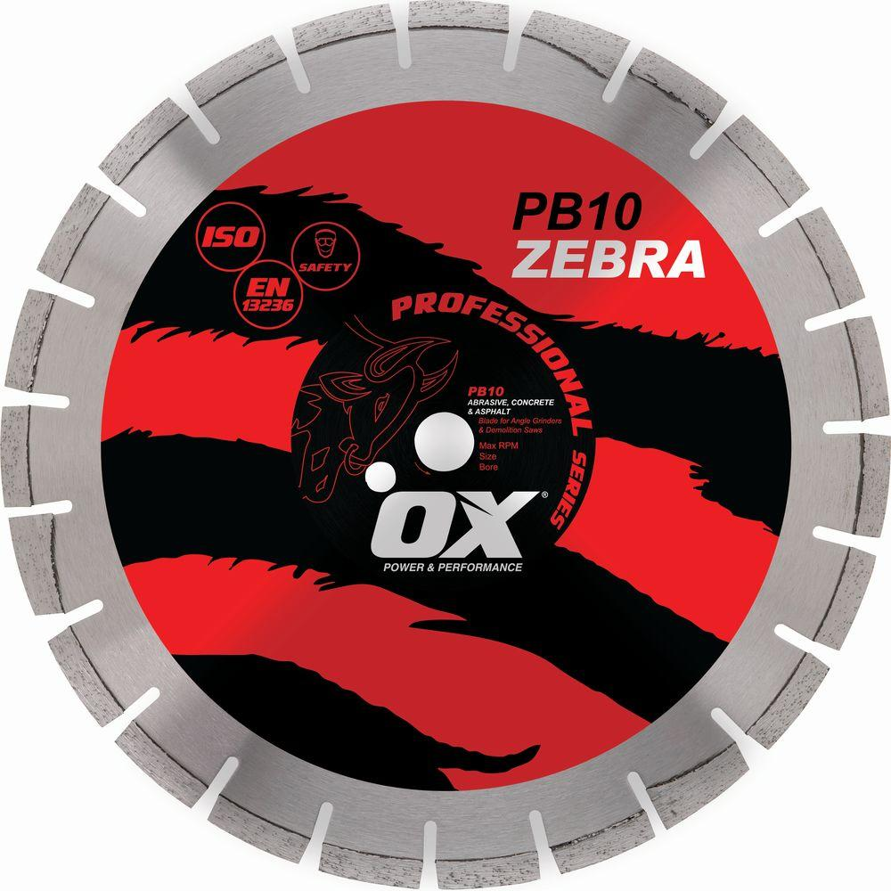 OX Professional Series 5/8 in. Bore 10 in. Abrasive Diamond Blade with 7/8 in. Diamond Knockout