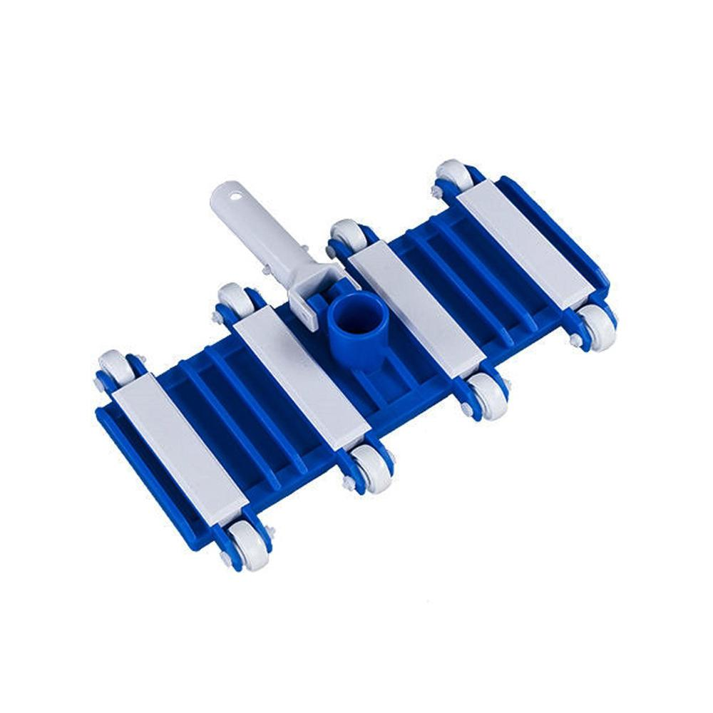Ocean Blue Weighted Flexible Pool Vacuum for Concrete with Wheels and Snap Adapt Handle Easily clean your pool using this Ocean Blue pool vacuum cleaner. It features flexible and weighted vacuum head that offers easy maneuverability over contoured surfaces. The body and wheels of this cleaner are scratch resistant. It can be paired to a 1-1/2 in. vacuum hose and accepts any standard size telescopic pole. This cleaner is best suited for residential use on concrete or plaster pools.