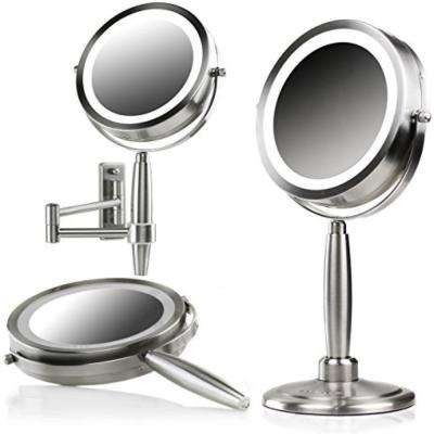 LED Lighted 3-in-1 Makeup Mirror (Tabletop, Wall Mount, Handheld) SmartTouch 3 Light Tones, 1x 10x Magnification