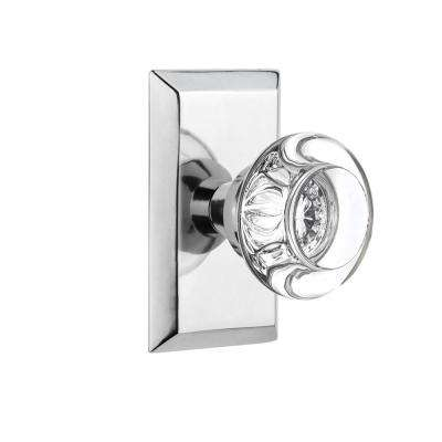 Studio Plate 2-3/8 in. Backset Bright Chrome Privacy Round Clear Crystal Glass Door Knob