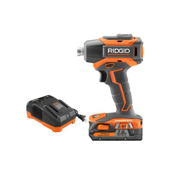 RIDGID 18-Volt Lithium-Ion Cordless Brushless 1/4 in. Impact Driver Kit with 2.0 Ah Battery and 18-Volt Charger