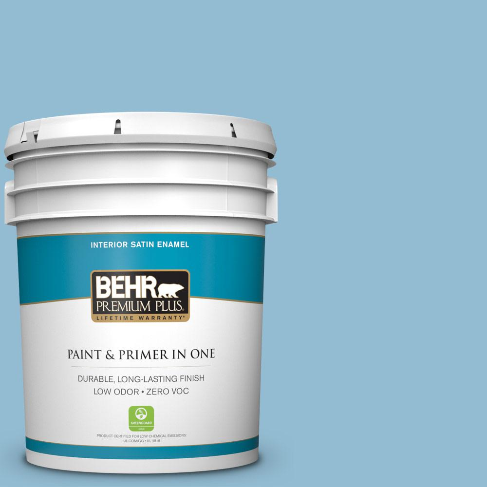 BEHR Premium Plus 5-gal. #M500-3 Blue Chalk Satin Enamel Interior Paint