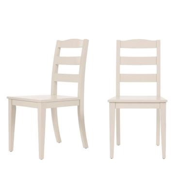 StyleWell Ivory Wood Dining Chair with Ladder Back (Set of 2) (17.72 in. W x 36.77 in. H)