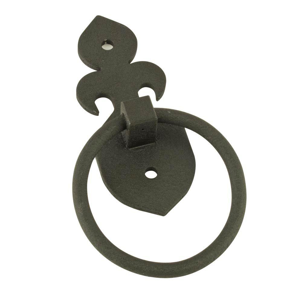 Black Fleur-de-lis Decorative Garage Ring Pulls (2-Pack)
