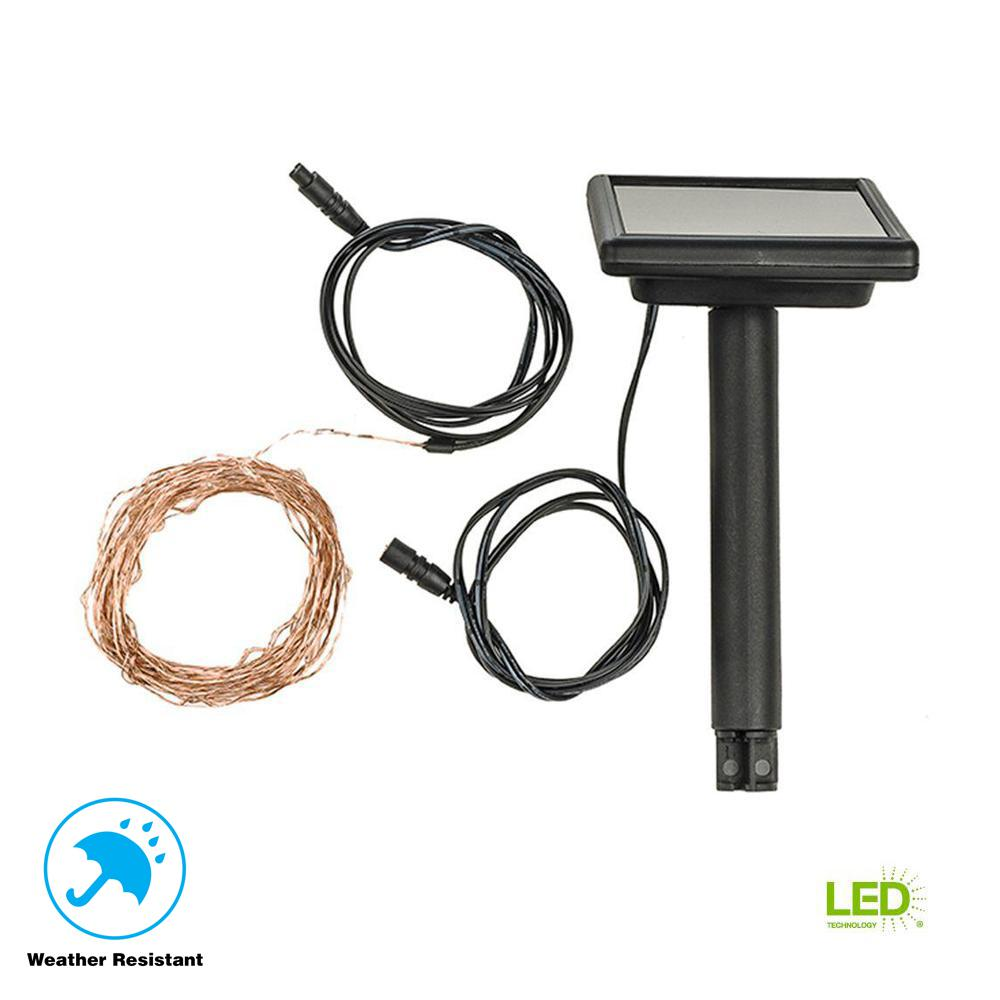 50-Light 6.10 in. Solar Outdoor Integrated LED Copper String Light Set