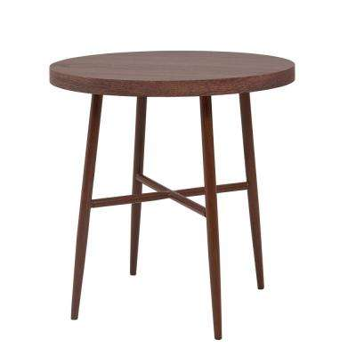 Miami Brown Round End Table with Brown Metal Legs