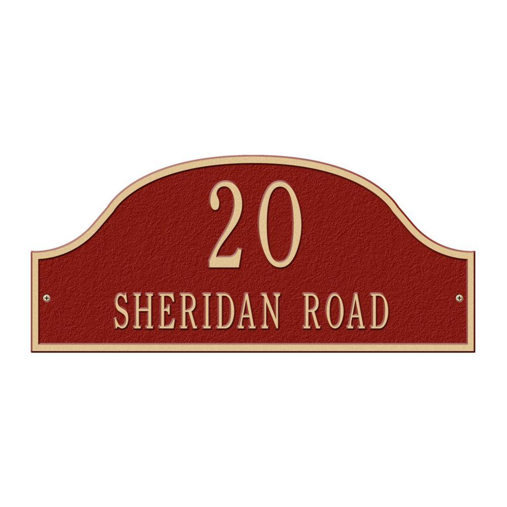 Admiral Standard Arch Red/Gold Wall Two Line Address Plaque