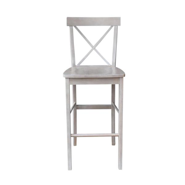 Alexa 29 in. H Weathered Taupe Gray Bar Stool