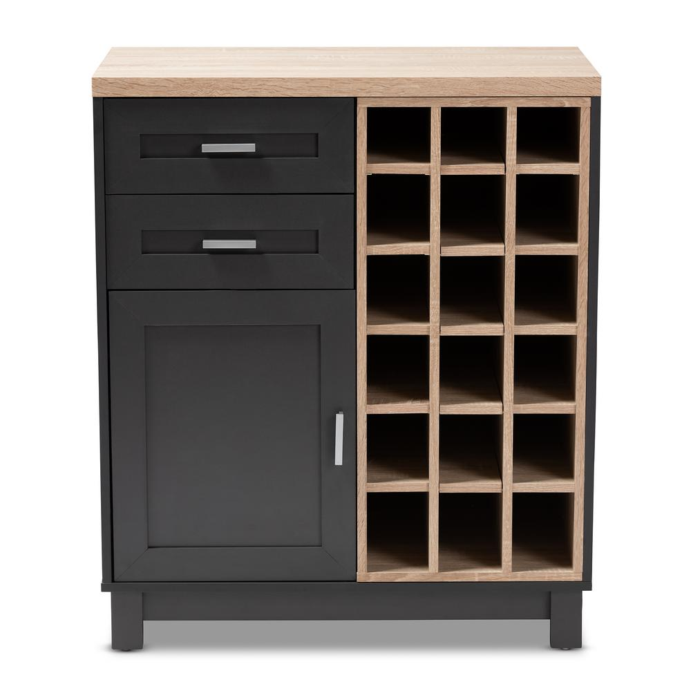 Maxime 18-Bottle Oak Brown and Dark Gray Wine Cabinet