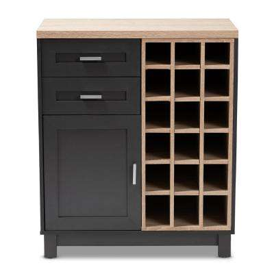 Maxime 18 Bottle Oak Brown And Dark Gray Wine Cabinet