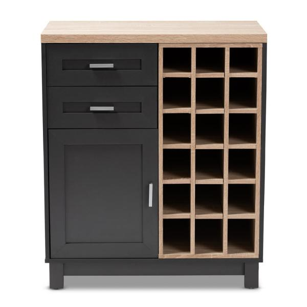Baxton Studio Maxime 18 Bottle Oak Brown And Dark Gray Wine Cabinet