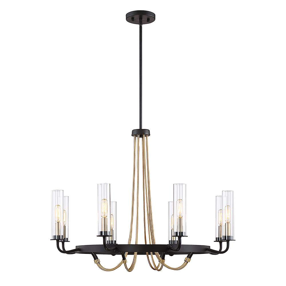 8-Light Vintage Black Chandelier
