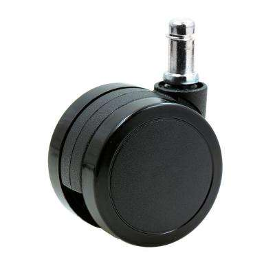 2-3/8 in. Office Chair Caster Wheels Stem 11 mm x 22 mm Rubber PU for Hardwood Floors (Set of 5)