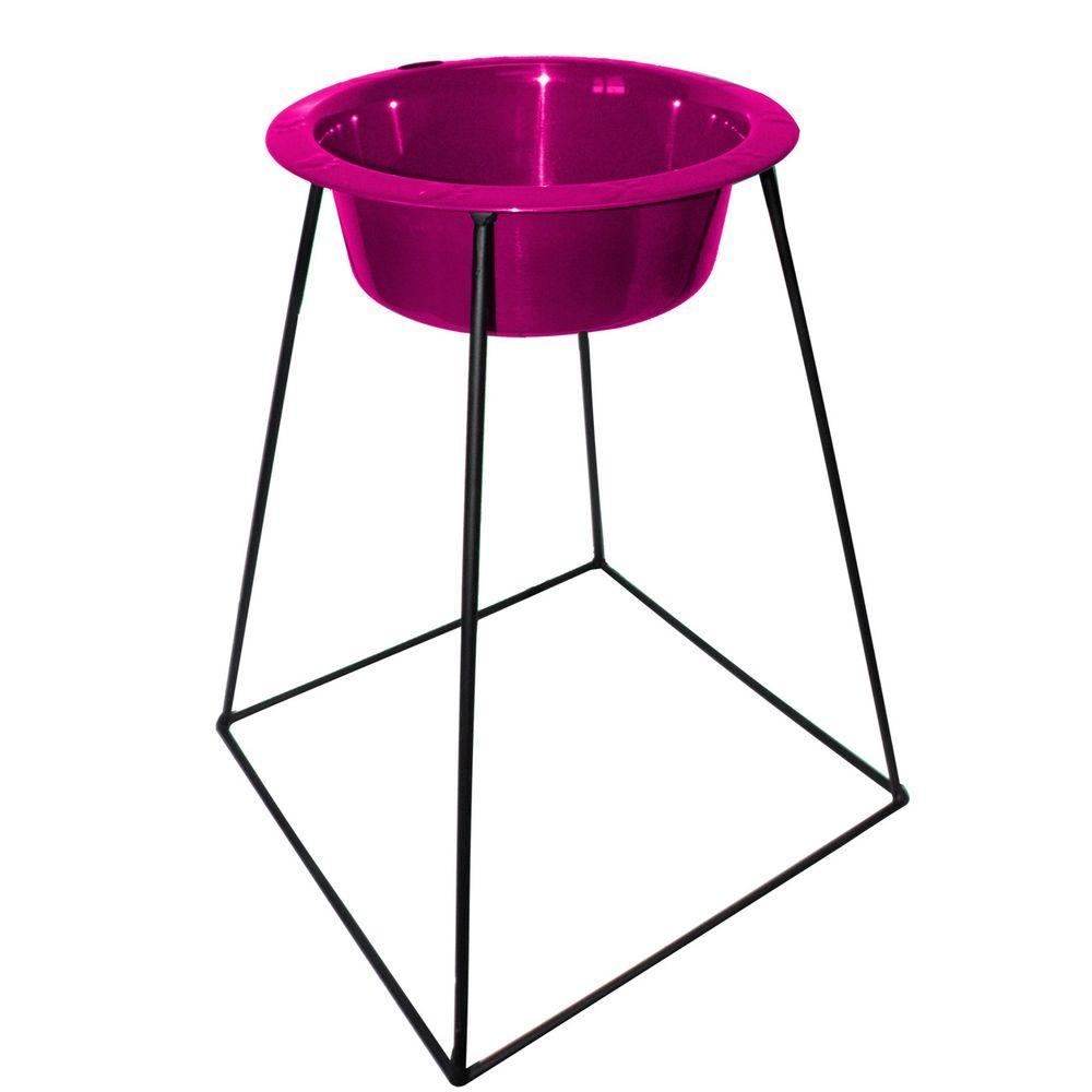 Platinum Pets 4 Cup Wrought Iron Pyramid Single Feeder with an Extra Wide Rimmed Bowl in Raspberry