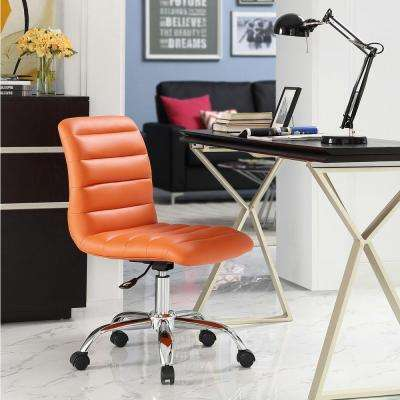 Ripple Armless Mid Back Office Chair in Orange