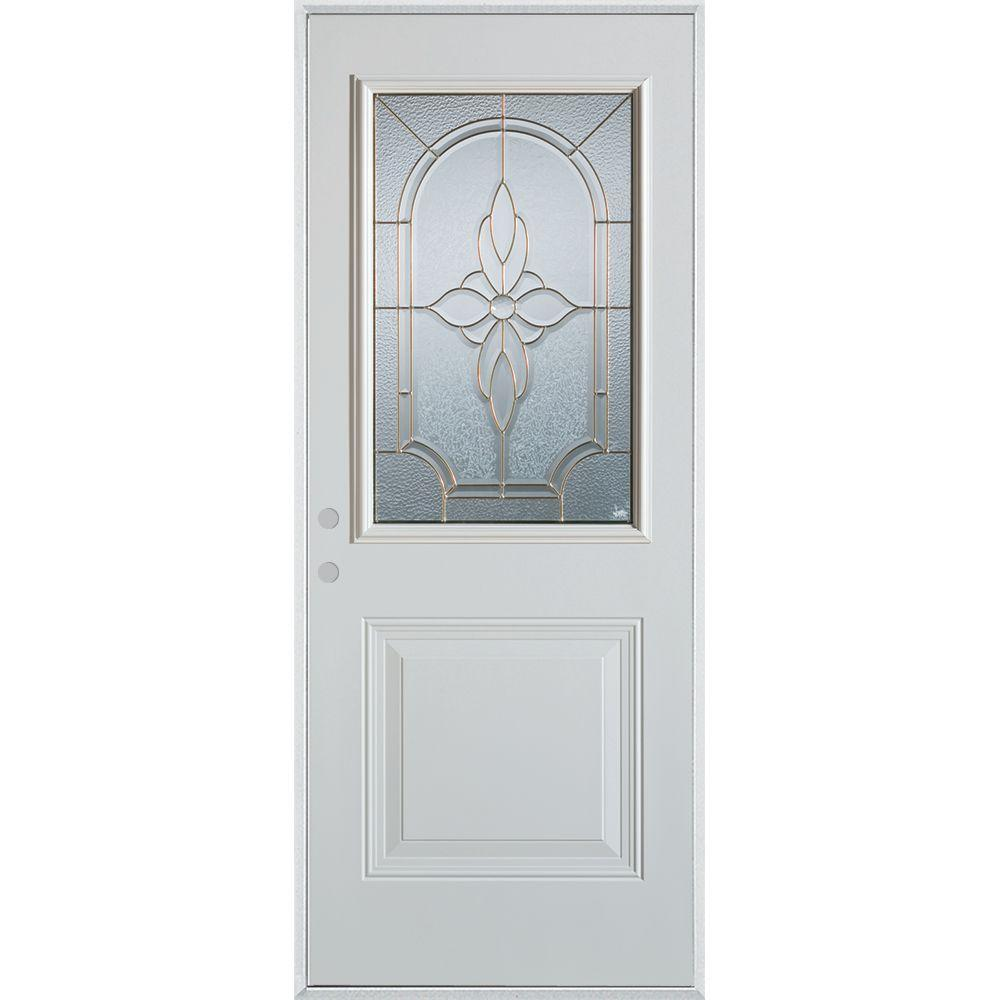 Stanley Doors 36 in. x 80 in. Traditional Patina 1/2 Lite 1-Panel Prefinished White Right-Hand Inswing Steel Prehung Front Door