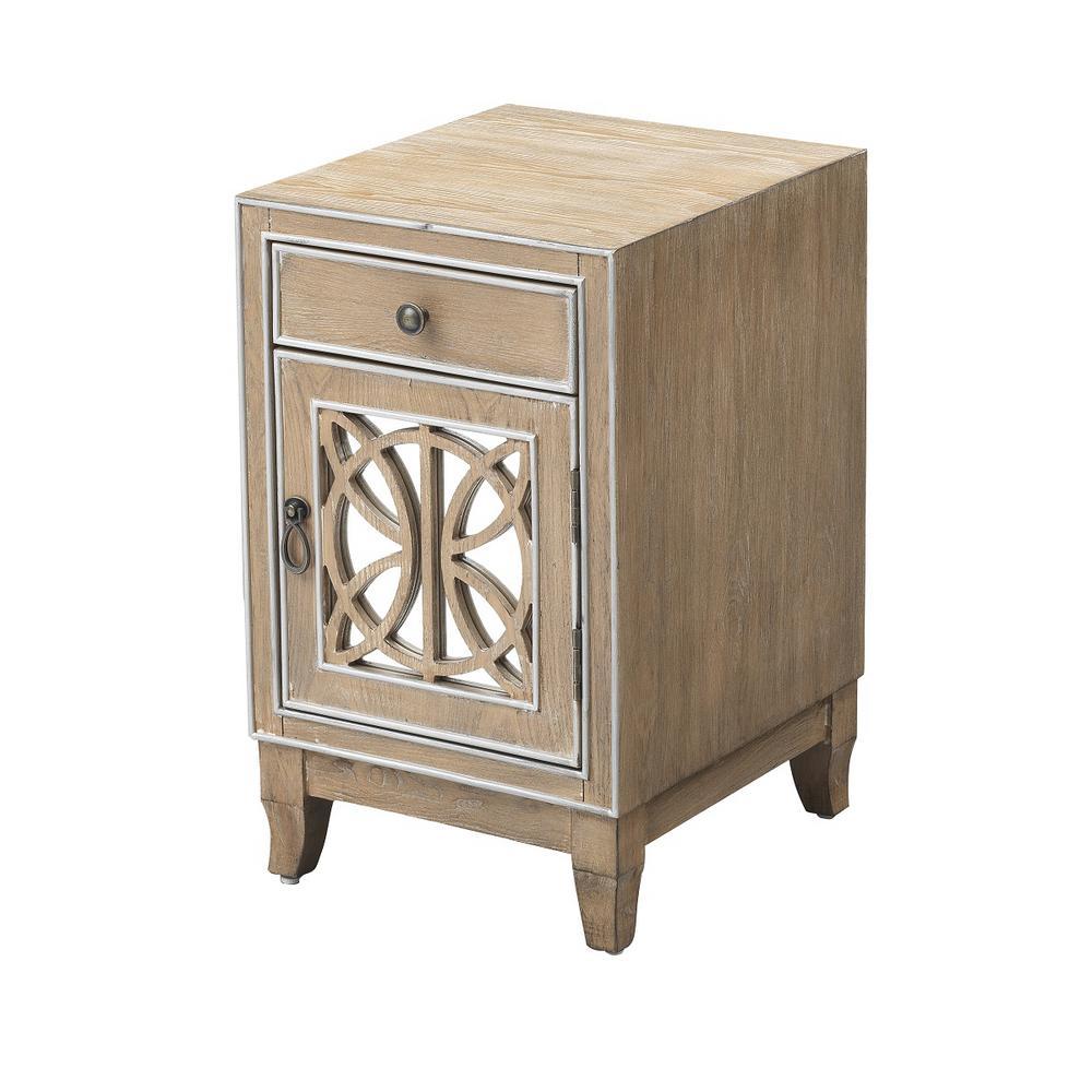 Gabriel Light Brown & Metallic One -Door One -Drawer Chairside Cabinet