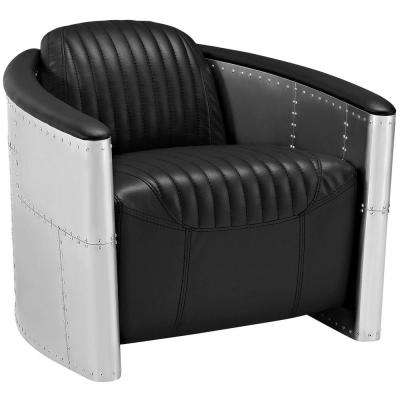 Visibility Upholstered Black Vinyl Lounge Chair