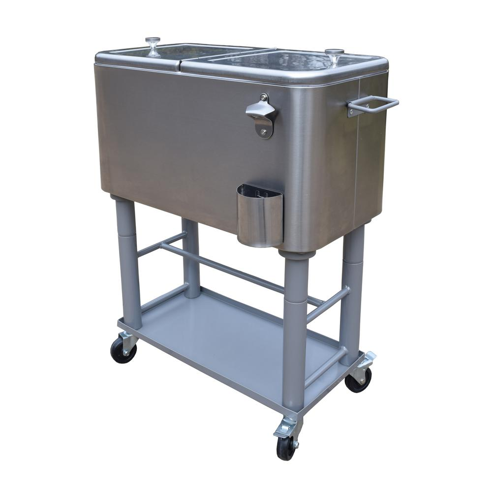 Stainless Steel 15 Gal Party Cooler Cart With Drain System Bottle Opener Caps Holder And Lock Wheels