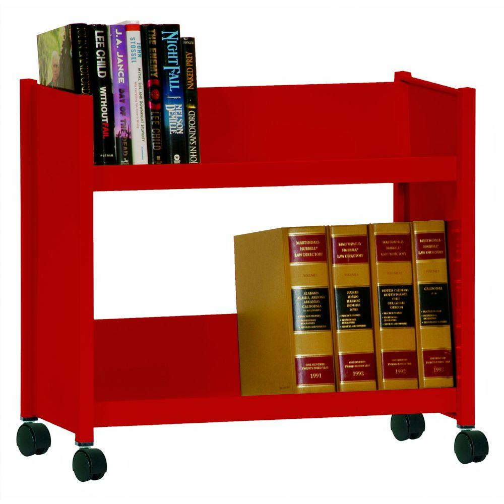 2-Sloped Shelf Welded Booktruck in Fire Engine Red