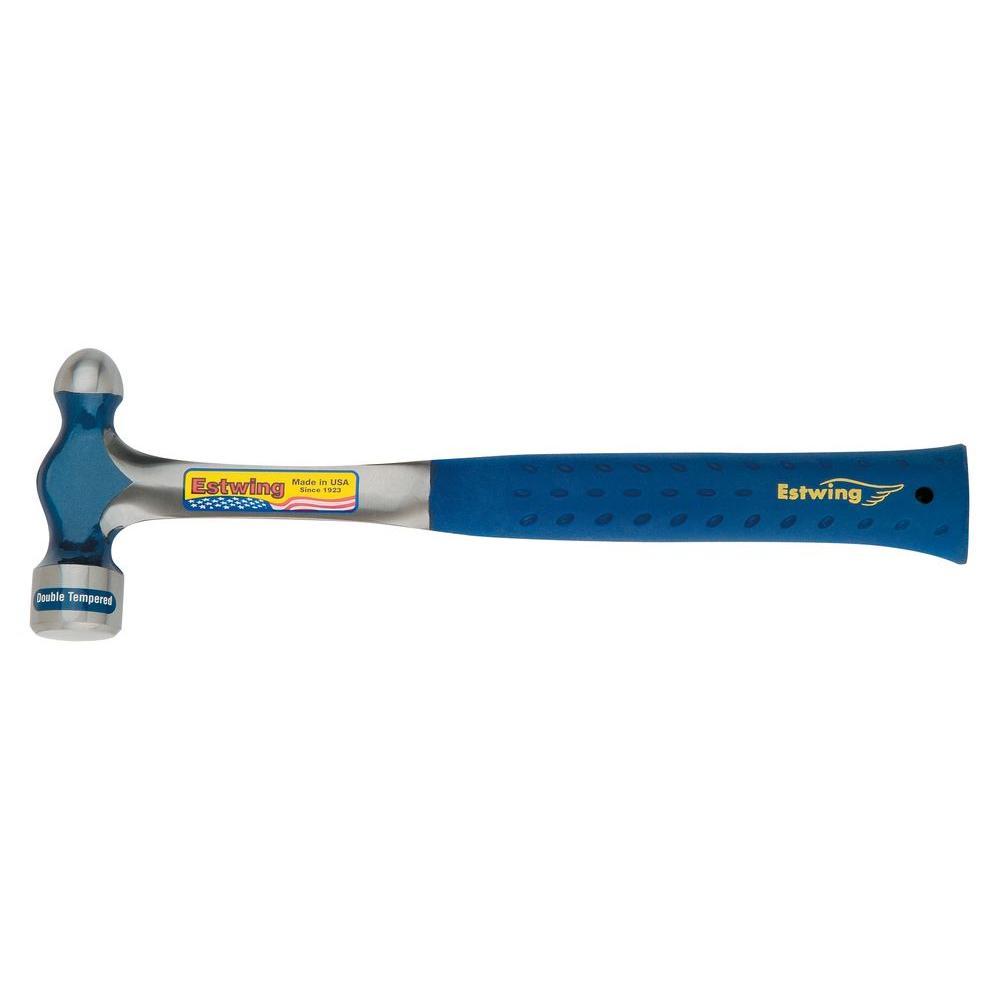 32 oz. Solid Steel Ball Peen Hammer with Blue Nylon Vinyl Shock Reduction Grip
