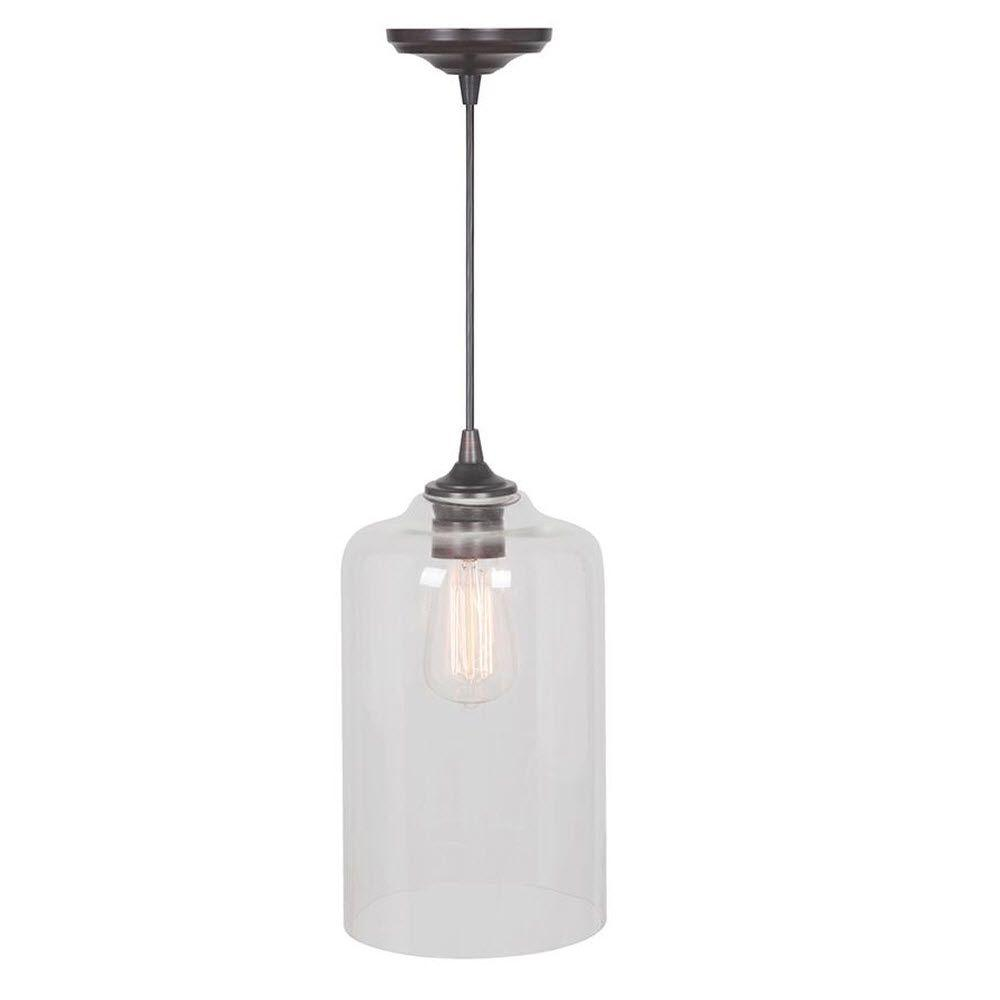 Home Decorators Collection Castello 1-Light Brushed Bronze Pendant