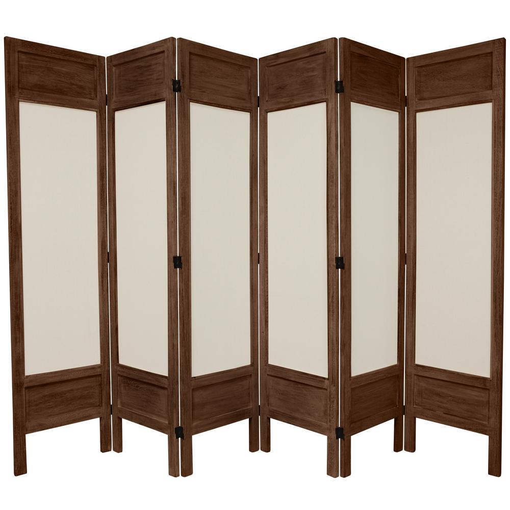 Oriental 6 ft. Burnt Brown Solid Muslin 6-Panel Room Divider
