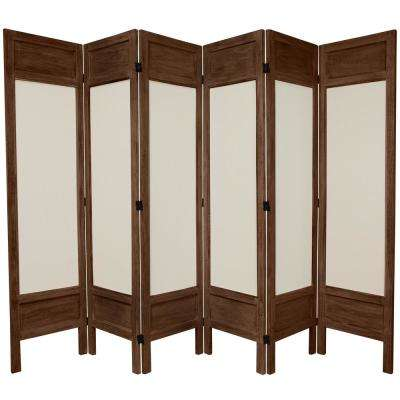 6 ft. Burnt Brown Solid Muslin 6-Panel Room Divider