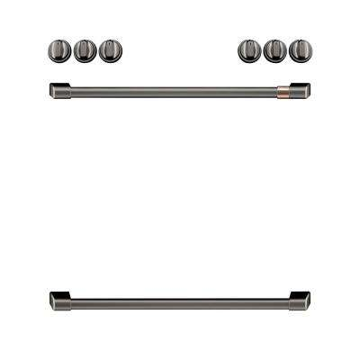 Front Control Electric Range Handle and Knob Kit in Brushed Black