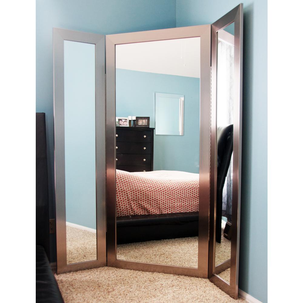 71 inch x 64 inch Modern Silver 3 Panel Dressing Framed Mirror by