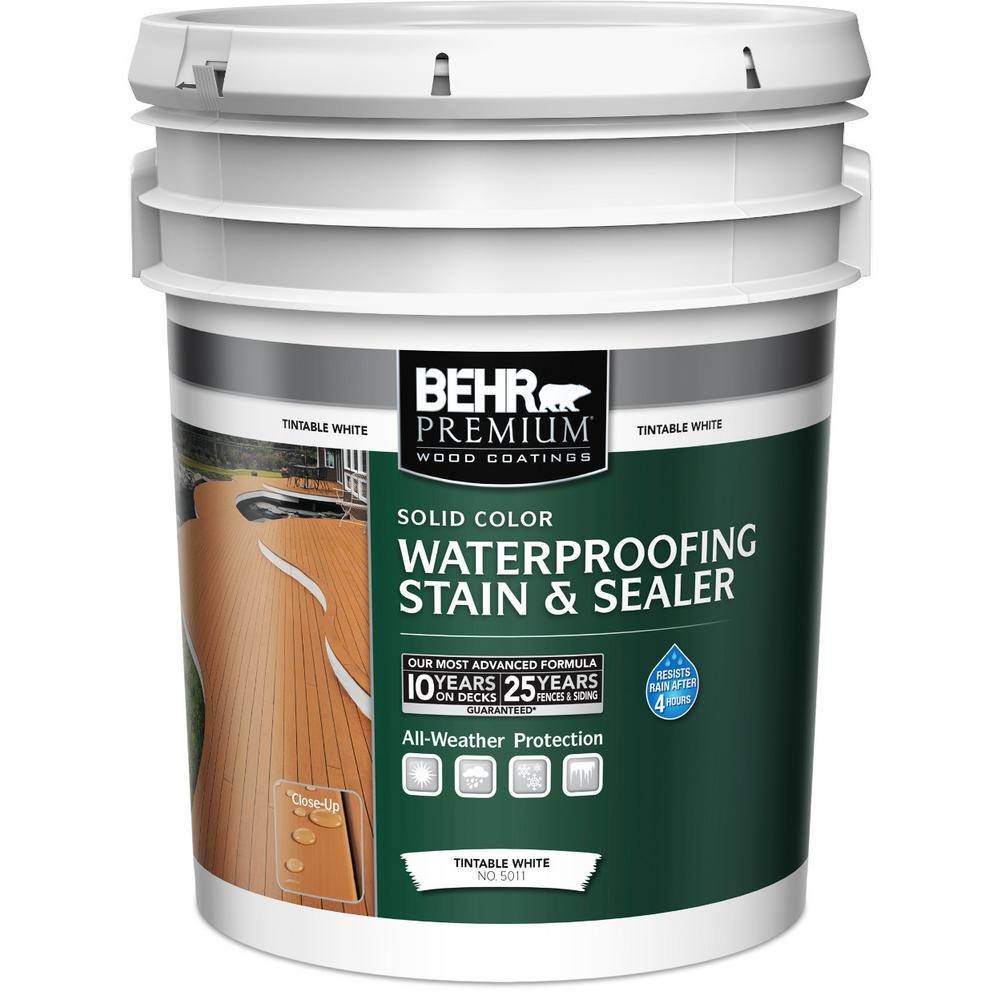 BEHR Premium 5 gal. White Base Solid Color Waterproofing Stain and Sealer