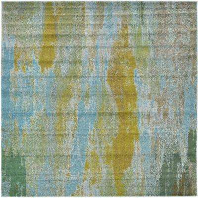 barcelona turquoise 8 ft x 8 ft square area rug