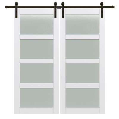72 in. x 84 in. 4-Lite Frosted Glass Primed MDF Double Barn Door with Sliding Door Hardware Kit